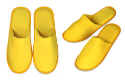 Pair of yellow house slippers Stock Images