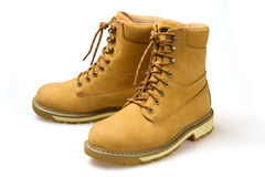 Pair of yellow nubuck shoes Stock Photo