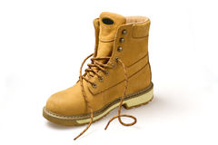Pair of yellow nubuck shoes Stock Photos