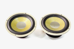 Car speaker audio. Pair of yellow old car audio speaker on white background royalty free stock photography
