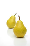 A pair of yellow pears. With drops, one on front and one  backwards over a white background. Look for more fruits and vegetables at my gallery Stock Photography