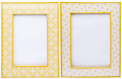 Pair of Yellow Picture Frames Royalty Free Stock Images