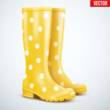 Pair of yellow rain boots Royalty Free Stock Images