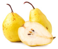 Pair of yellow ripe, juicy pears. Stock Photography