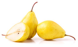 Pair of yellow ripe, juicy pears. On a white background. Royalty Free Stock Images
