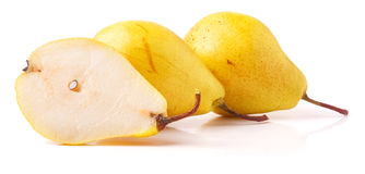 Pair of yellow ripe, juicy pears. On a white background. Stock Image