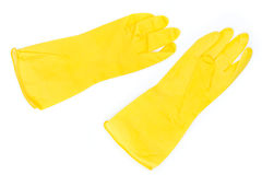 Pair of yellow rubber gloves Stock Images