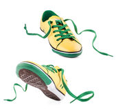 Pair of Yellow sports shoes Royalty Free Stock Photos