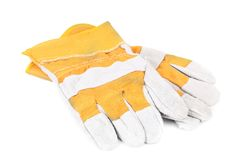 Pair of yellow working glove. Stock Image
