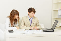 Pair of young businessmen work at office Stock Image