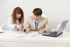 Pair of young businessmen in workplace Stock Photography