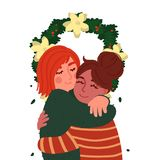 A pair of young girls hugging under the Christmas wreath. Cartoon characters isolated on white background. Vector illustration in stock illustration