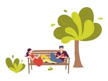 A pair of young people sitting on a bench in a park. A couple of a man and a woman in love reading books stock illustration