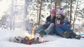 A pair of young people in winter clothes in a snow-covered forest fry marshmallows at the stake. A winter picnic stock footage