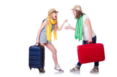 Pair of young students. Travelling Stock Photos