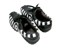Pair of zebra shoes. Isolated photo of a pair of zebra design shoes Royalty Free Stock Photography