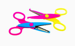 Pair zigzag scissors for art Stock Photography