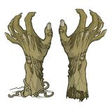 Pair of zombie hands rising from the ground and torn apart. Lifelike depiction of the rotting flash with ragged skin, protruding bones and cracked nails royalty free illustration