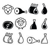 Paira a carne, pé de cordeiro, patas do cordeiro e marque os ícones ajustados Fotografia de Stock Royalty Free