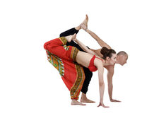 Paired yoga training of man and woman Royalty Free Stock Photography