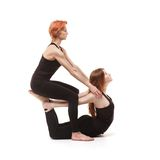 Paired yoga on a white background Royalty Free Stock Photo