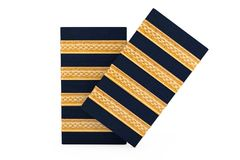Paires d'épaulettes pilotes de capitaine Four Golden Bars rendu 3d Image stock