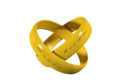 Paires d'anneaux de mariage en or Image stock