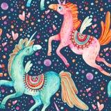 Paires d'aquarelle de modèle sans couture de licornes de vol sur le fond avec des bulles et des coeurs illustration de vecteur