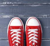 Paires d'espadrilles rouges de textile Image libre de droits