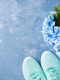 Paires d'espadrilles vertes de toile de femme sur le fond bleu Photos stock
