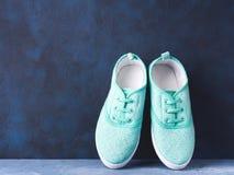 Paires d'espadrilles vertes de toile de femme sur le fond bleu Images stock