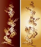 Paires d'or et rouges de fleurs Photos stock