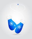 Paires d'illustration de vecteur de mitaines bleues de Noël illustration stock