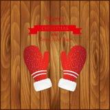 Paires d'illustration de vecteur de mitaines rouges de Noël illustration stock