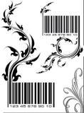 Paires d'illustrations - codes barres avec la branche florale canette illustration libre de droits