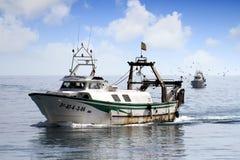 Paires de bateaux de pêche de chalutier dans le cours au port en Espagne Images stock