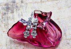 paires de boucles d'oreille d'un argent de mode avec les pierres précieuses Photos libres de droits