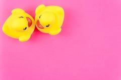 Paires de canards en caoutchouc jaunes au-dessus de fond coloré Image libre de droits