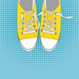Paires de chaussures sur le fond de couleur dans le bruit Art Style Vector Illustration Photo libre de droits