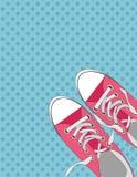 Paires de chaussures sur le fond de couleur dans le bruit Art Style Vector Illustration Photos stock