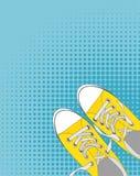 Paires de chaussures sur le fond de couleur dans le bruit Art Style Vector Illustration Photographie stock