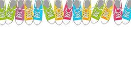 Paires de chaussures sur le fond de couleur dans le bruit Art Style Vector Illustration Image stock