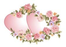 Paires de coeurs dans un cadre des fleurs Images stock