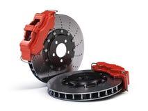 Paires de disques de frein avec des calibres de emballage de sport rouge sur le blanc Photographie stock libre de droits