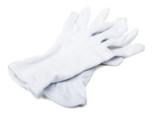 Paires de gants de blanc de maîtres d'hôtel Photo libre de droits