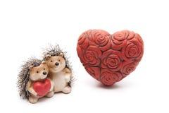 Paires de hérisson avec le coeur Photo stock