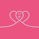 Paires de la ligne blanche coeurs Carte de jour de Valentines Photo stock