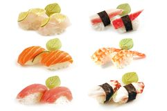 Paires de Nigiri de composition de sushi photos stock