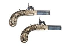 Paires de percusion de vieux vintage et original de pistolets Images stock