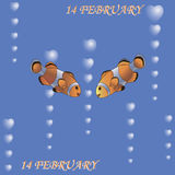 Paires de poissons Le 14ème février illustration stock